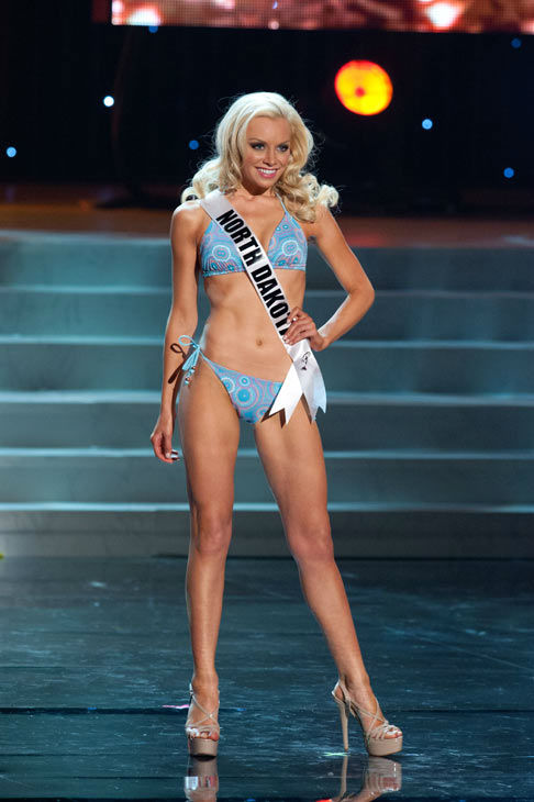 Miss North Dakota poses in a bikini during the...