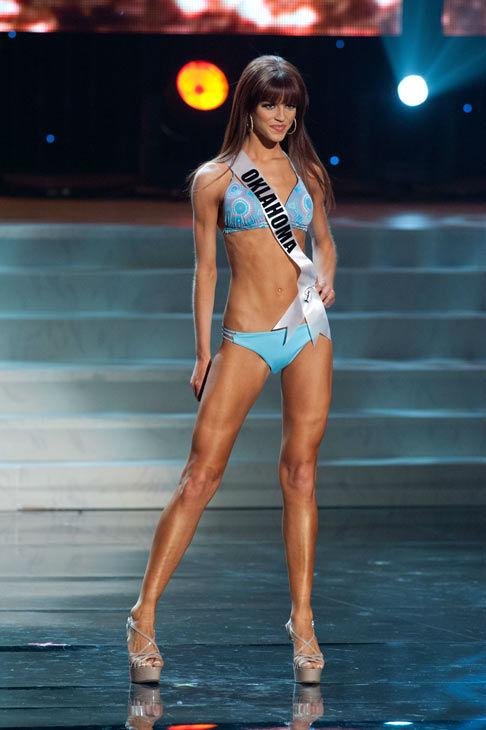 Miss Oklahoma poses in a bikini during the Miss...