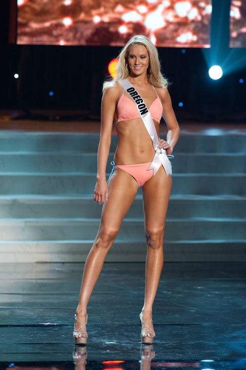 Miss Oregon poses in a bikini during the Miss...