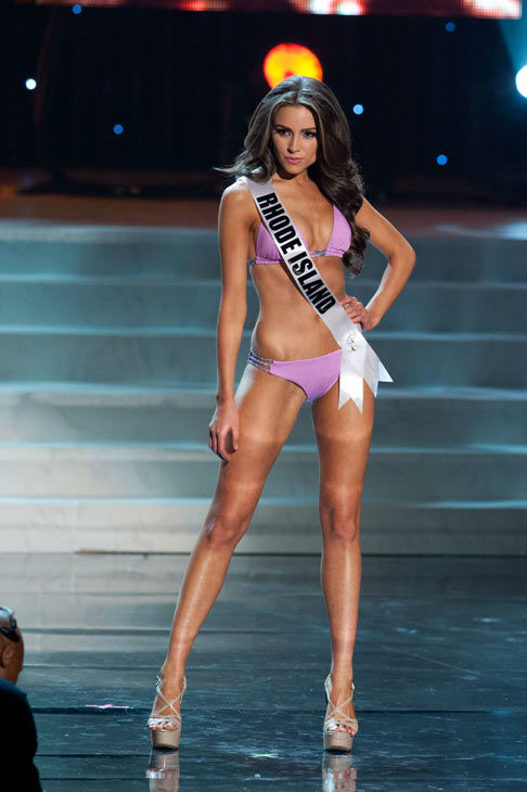 Miss Rhode Island poses in a bikini during the...