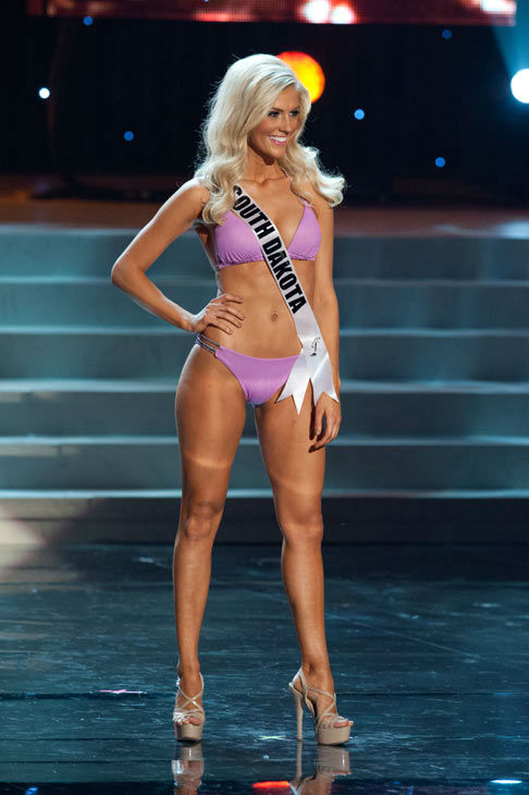 "<div class=""meta ""><span class=""caption-text "">Miss South Dakota poses in a bikini during the Miss USA Presentation Show on May 30 from the Planet Hollywood Resort in Las Vegas, Nevada. The 2012 MISS USA Pageant will air live on NBC June 3 at 9:00 p.m. ET from the Theatre for Performing Arts. (Miss USA / Darren Decker)</span></div>"