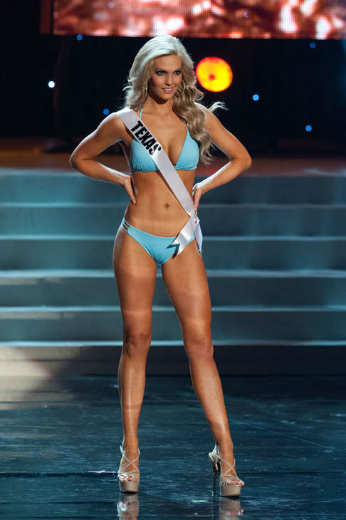 Miss Texas poses in a bikini during the Miss USA...