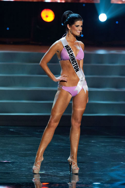 Miss Washington poses in a bikini during the...