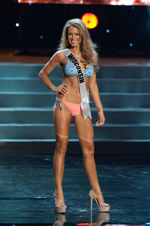 Miss Wisconsin poses in a bikini during the Miss...