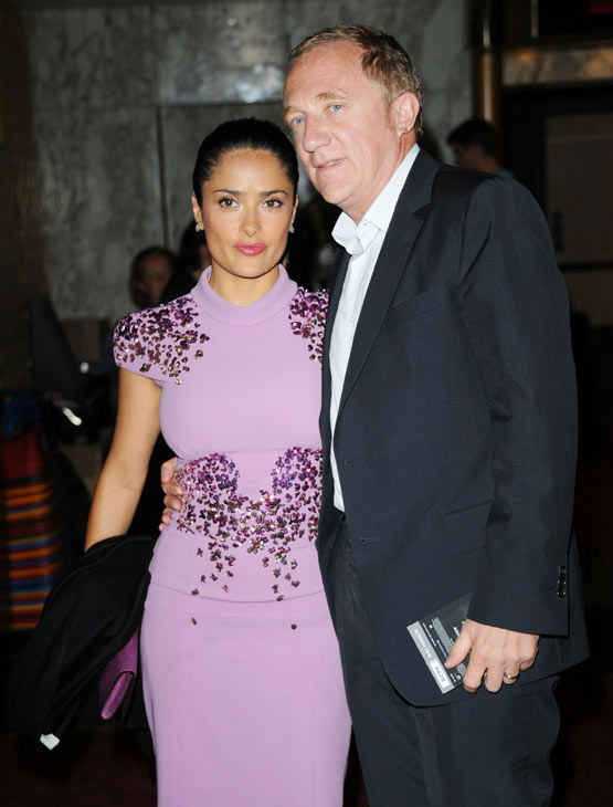 Actress Salma Hayek and Fran�ois-Henri Pinault arrives at the premiere of 'Prometheus' on Thursday, May 31, 2012 in London.