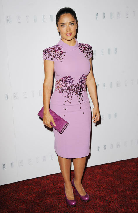 Actress Salma Hayek arrives at the premiere of 'Prometheus' on Thursday, May 31, 2012 in London.