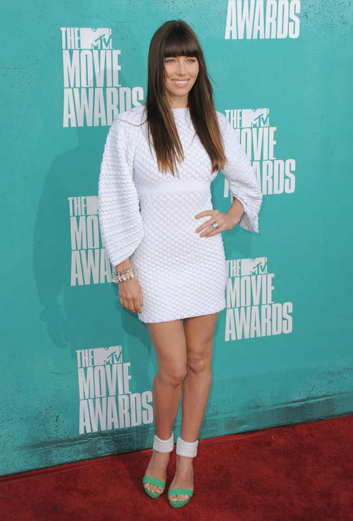 Jessica Biel arrives at the MTV Movie Awards on Sunday, June 3, 2012 in Los Angeles.