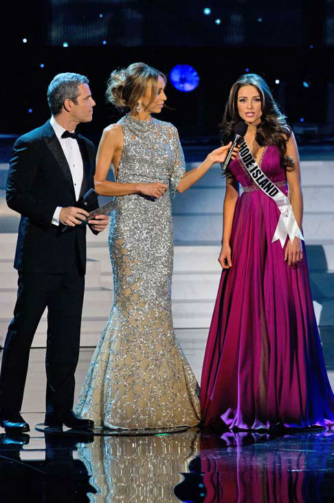 Hosts Andy Cohen and Giuliana Rancic with Miss Rhode Island USA 2012, Olivia Culpo, during the Judges Question in Las Vegas, Nevada on Sunday, June 3, 2012.