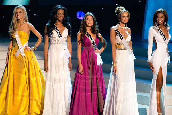 The 5 Finalists for the Crown of Miss USA 2012 Miss Ohio USA 2012, Audrey Bolte; Miss Maryland USA 2012, Nana Meriwether; Miss Rhode Island USA 2012, Olivia Culpo; Miss Nevada USA 2012, Jade Ashley Kelsall; and Miss Georgia USA 2012, Jasmyn &#39;Jazz&#39; Alexandria Wilkins in Las Vegas, Nevada on Sunday, June 3, 2012.  <span class=meta>(Miss Universe Organization&#47;Richard Harbaugh)</span>