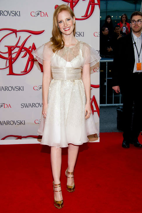 "<div class=""meta ""><span class=""caption-text "">Jessica Chastain arrives at the CFDA Fashion Awards on Monday, June 4, 2012 in New York.  (Photo/Charles Sykes)</span></div>"
