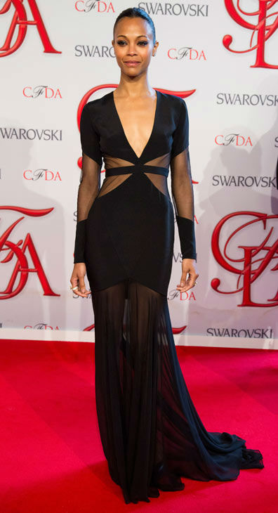Zoe Saldana arrives at the CFDA Fashion Awards...