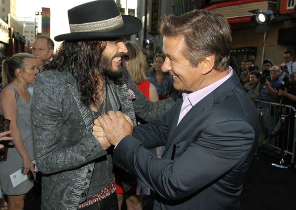 Alec Baldwin, right, and Russell Brand arrive at...