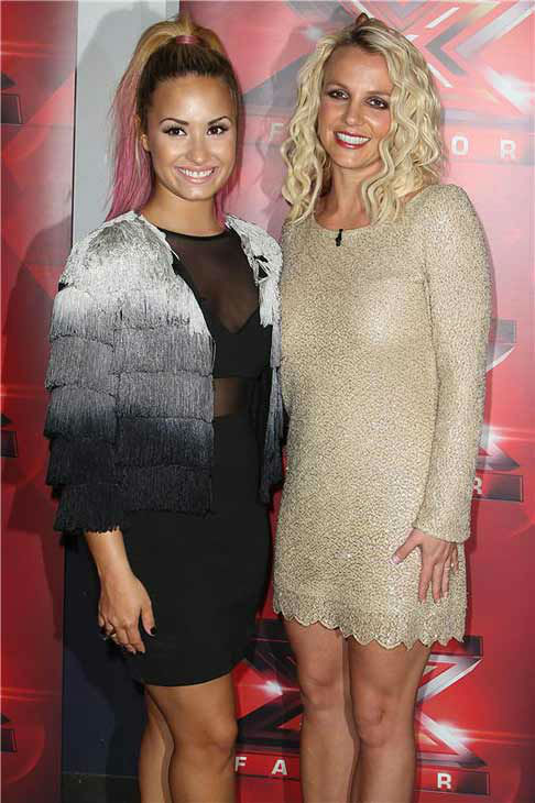 Britney Spears appears with fellow &#39;The X Factor&#39; judge Demi Lovato at the San Francisco auditions for the FOX singing competition on June 16, 2012.  <span class=meta>(Norman Scott &#47; startraksphoto.com)</span>