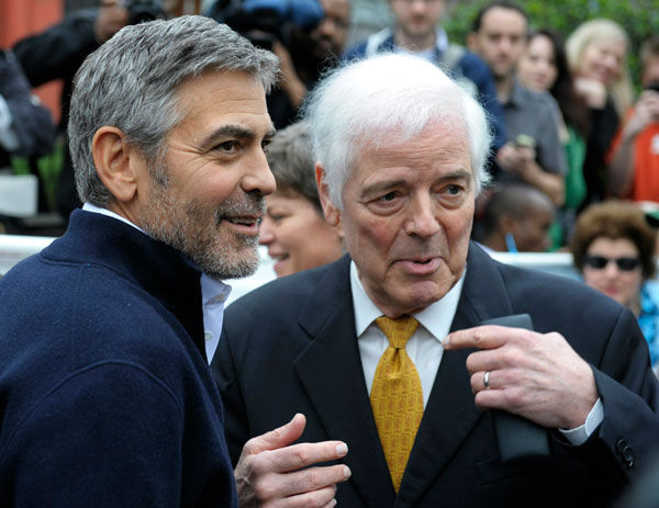 Actor George Clooney, left, and his father Nick...