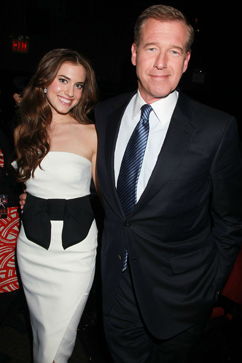 Actress Allison Williams poses with her father,...