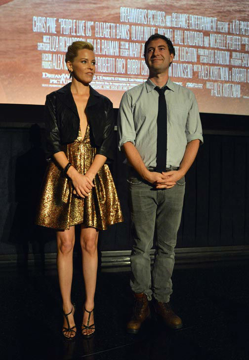 Actors Mark Duplass and Elizabeth Banks attend the 2012 Los Angeles Film Festival Premiere of 'People Like Us' at Regal Cinemas L.A. LIVE Stadium 14 on June 15, 2012 in Los Angeles, California.