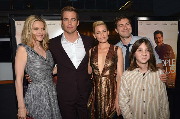 Actors Michelle Pfeiffer, Chris Pine, Elizabeth Banks, Mark Duplass and Michael Hall D'Addario attend the 2012 Los Angeles Film Festival Premiere of 'People Like Us' at Regal Cinemas L.A. LIVE Stadium 14 on June 15, 2012 in Los Angeles, California.