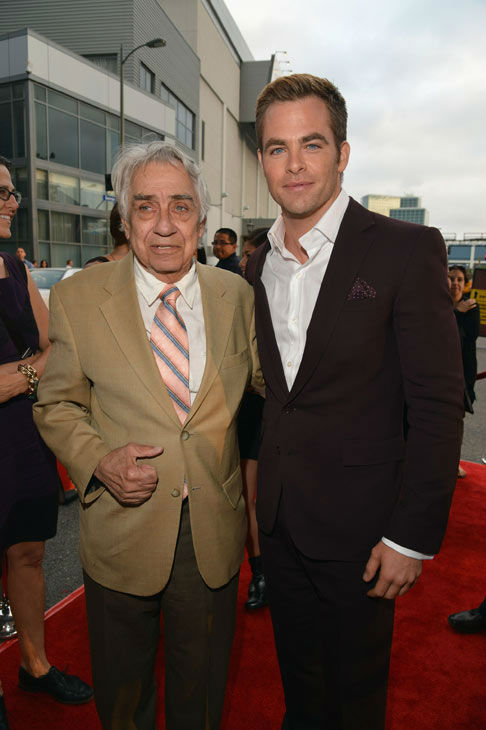 Actors Philip Baker Hall and Chris Pine attend the 2012 Los Angeles Film Festival Premiere of 'People Like Us' at Regal Cinemas L.A. LIVE Stadium 14 on June 15, 2012 in Los Angeles, California.