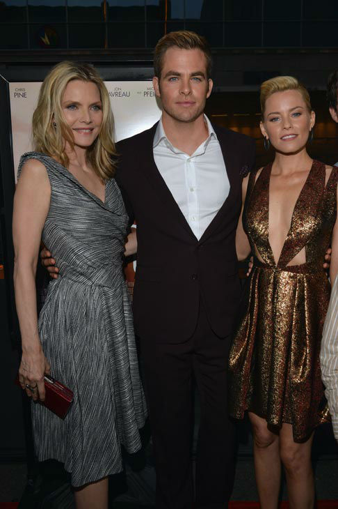 Actors Michelle Pfeiffer, Chris Pine and Elizabeth Banks attend the 2012 Los Angeles Film Festival Premiere of 'People Like Us' at Regal Cinemas L.A. LIVE Stadium 14 on June 15, 2012 in Los Angeles, California.