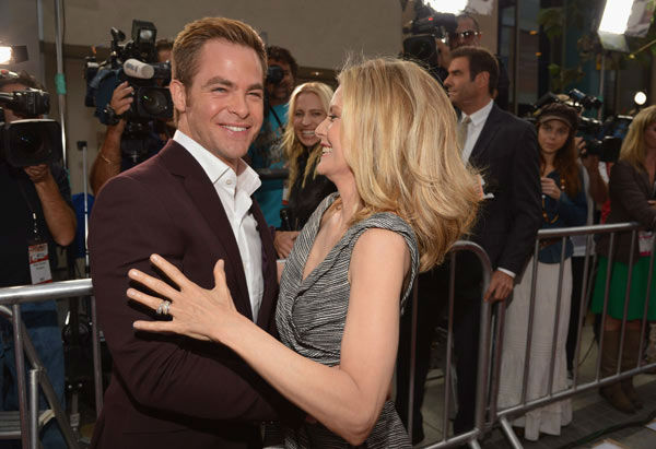 Actors Chris Pine and Michelle Pfeiffer attend...