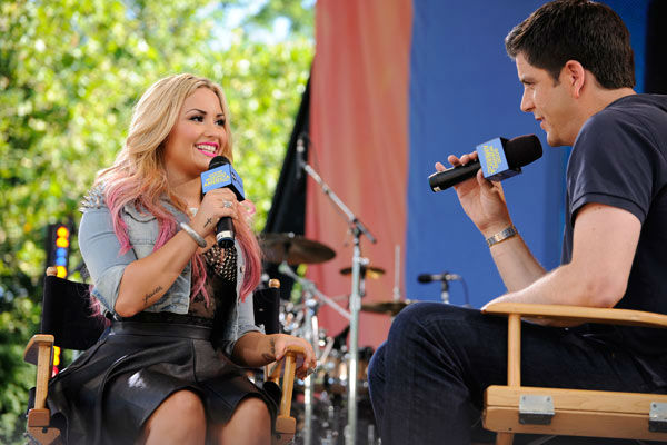 Demi Lovato talks to Josh Elliot during her live performance from Central Park in New York City on 'Good Morning America,' on July 6, 2012, airing on the ABC Television Network.