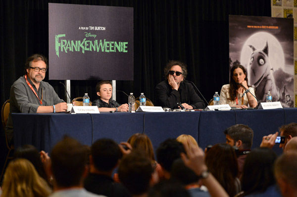 Executive producer Don Hahn, Atticus Shaffer, director Tim Burton and producer Allison Abbate of &#39;Frankenweenie,&#39; appear in a photo at San Diego Comic-Con on Thursday, July 12, 2012. <span class=meta>(WireImage Photo&#47;Alberto E. Rodriguez)</span>