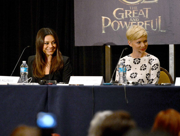 "<div class=""meta image-caption""><div class=""origin-logo origin-image ""><span></span></div><span class=""caption-text"">Mila Kunis and Michelle Williams of 'Oz: the Great and Powerful,' appear in a photo at San Diego Comic-Con on Thursday, July 12, 2012. (WireImage Photo/Alberto E. Rodriguez)</span></div>"
