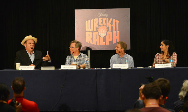 "<div class=""meta ""><span class=""caption-text ""> John C. Reilly, director Rich Moore, producer Clark Spencer and Sarah Silverman of 'Wreck-It Ralph' appear in a photo at San Diego Comic-Con on Thursday, July 12, 2012. (WireImage Photo/Frazer Harrison)</span></div>"