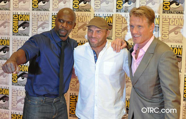 "<div class=""meta image-caption""><div class=""origin-logo origin-image ""><span></span></div><span class=""caption-text"">Terry Crews, Randy Couture and Dolph Lundgren of 'The Expendables 2,' appear in a photo at San Diego Comic-Con on Thursday, July 12, 2012. (OTRC Photo)</span></div>"