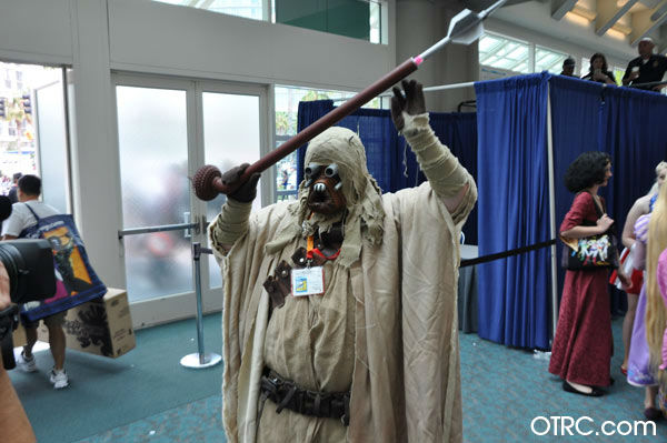 A fan dressed as a Tusken Raider from Star Wars...