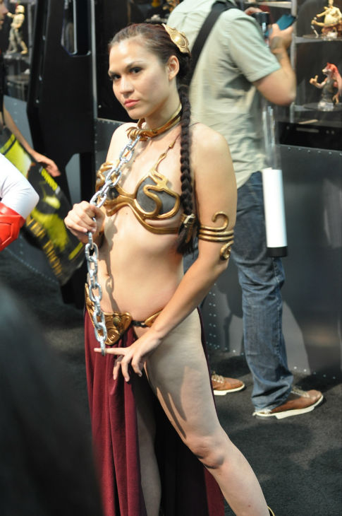 A fan dressed as Princess Leia from 'Star Wars'...