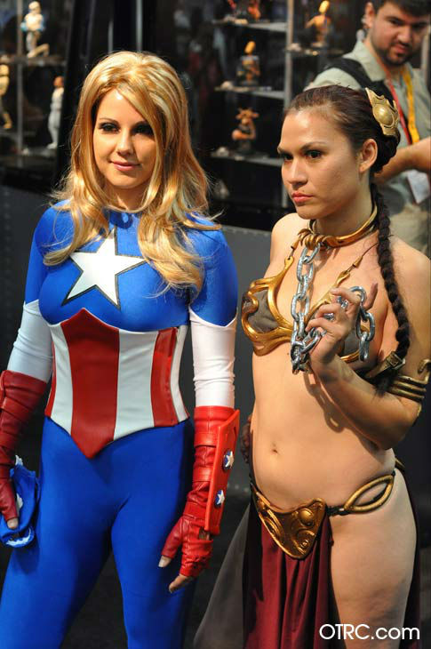 Fans dressed as Marvel's 'American Dream' and Princess Leia from 'Star Wars' appear in a photo at San Diego Comic-Con on Friday, July 13, 2012.