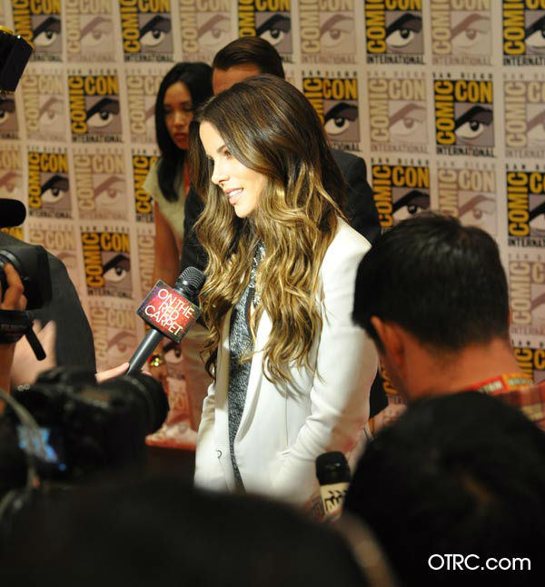 "<div class=""meta ""><span class=""caption-text "">Kate Beckinsale of 'Total Recall' appears in a photo at San Diego  Comic-Con on Friday, July 13, 2012. (OTRC Photo)</span></div>"