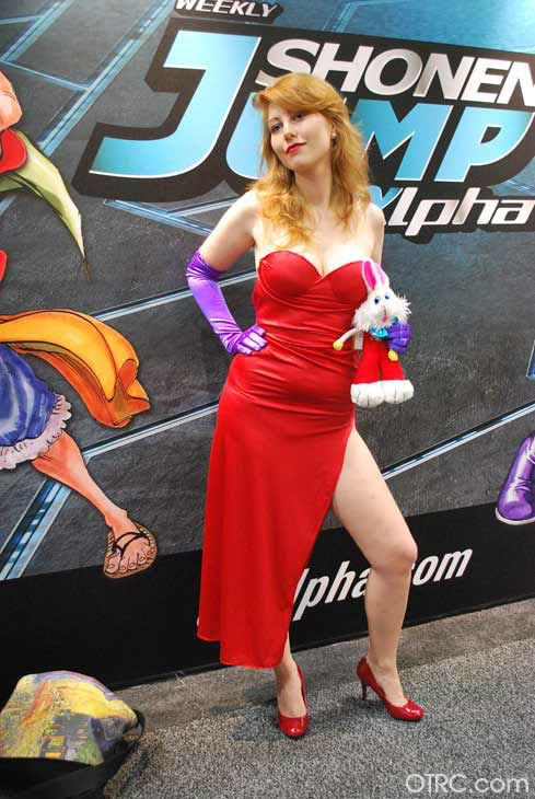 A fan dressed as Jessica Rabbit appears in a...