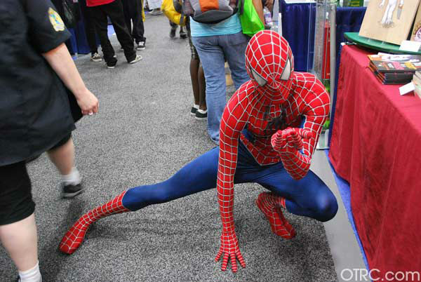 A fan dressed as Spider-Man appears in a photo...