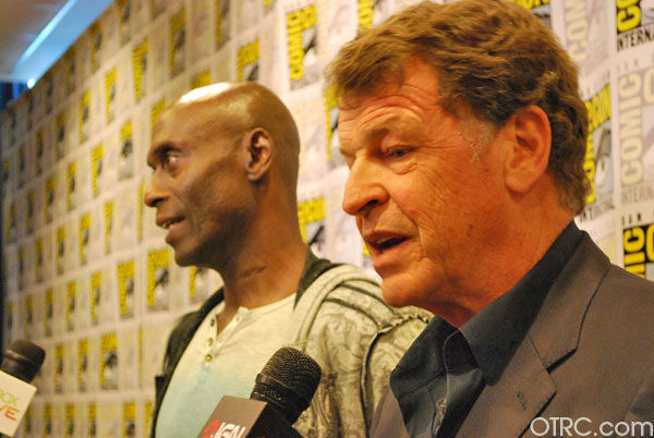 John Noble and of Lance Reddick 'Fringe' appears in a photo at San Diego Comic-Con on Sunday, July 15, 2012.