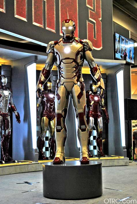 A suit from the movie 'Iron Man 3' on display at...