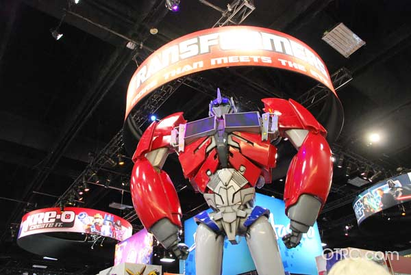 An Optimus Prime prop from the movie 'Transformers' appears at Comic-Con, held on July 12 through July 15, 2012.
