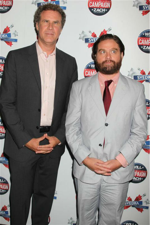 Notable celebrity jokesters and popular actors Will Ferrell and Zach Galifanakis put their game faces on at a screening of their comedy movie &#39;The Campaign&#39; in New York on July 25, 2012. <span class=meta>(Dave Allocca &#47; Startraksphoto.com)</span>
