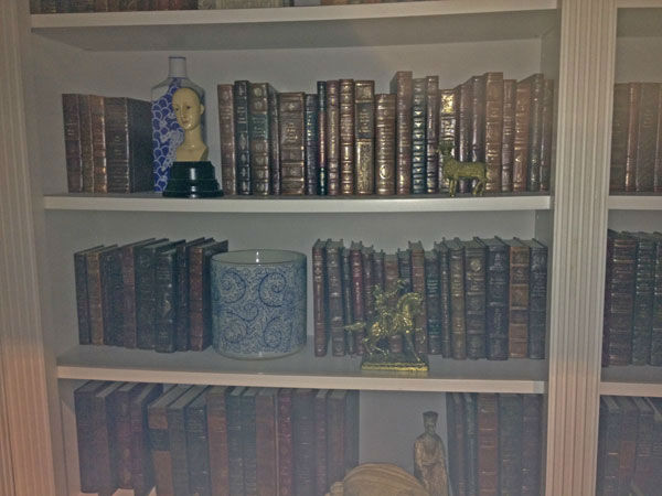 Pictured is a bookshelf inside Grayson Manor...