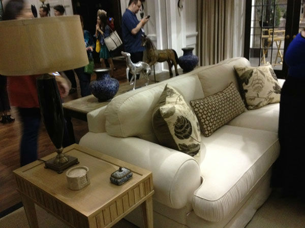 Pictured is a couch and living room setting inside Grayson Manor from the set of the ABC drama series 'Revenge.' The photo was taken on July 26, 2012, during a set visit by members of the Television Critics Association.