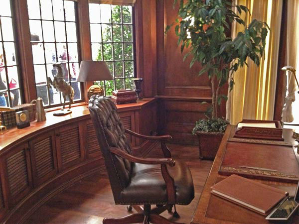 Pictured is a desk inside Grayson Manor from the...