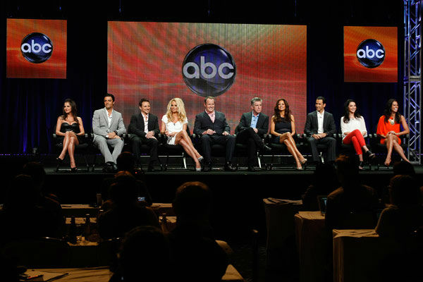 &#39;Dancing With The Stars: All-Stars&#39; contestants Kelly Monaco, Gilles Marini, Drew Lachey, Pamela Anderson, Helio Castroneves, Bristol Palin and Melissa Rycroft appear with Executive Producer Conrad Green and hosts Tom Bergeron and Brooke Burke-Charvet at the TCA Summer Press Tour on July 27, 2012.  <span class=meta>(ABC Photo&#47; Rick Rowell)</span>