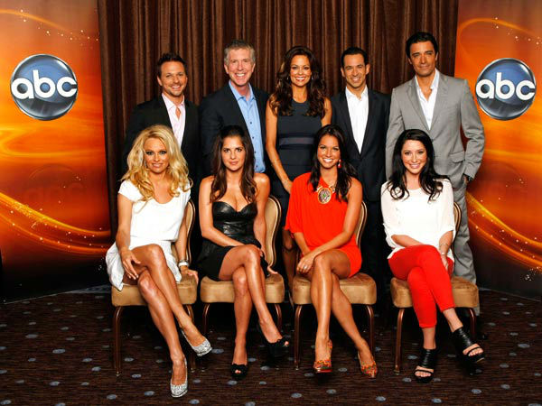 "<div class=""meta ""><span class=""caption-text "">'Dancing With The Stars: All-Stars' contestants Kelly Monaco, Gilles Marini, Drew Lachey, Pamela Anderson, Helio Castroneves, Bristol Palin and Melissa Rycroft appear with Executive Producer Conrad Green and hosts Tom Bergeron and Brooke Burke-Charvet at the TCA Summer Press Tour on July 27, 2012.  (ABC Photo/ Rick Rowell)</span></div>"