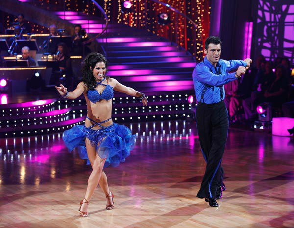Melissa Rycroft and Tony Dovolani appear in a still from the 2009 season 8 of 'Dancing With The Stars.'