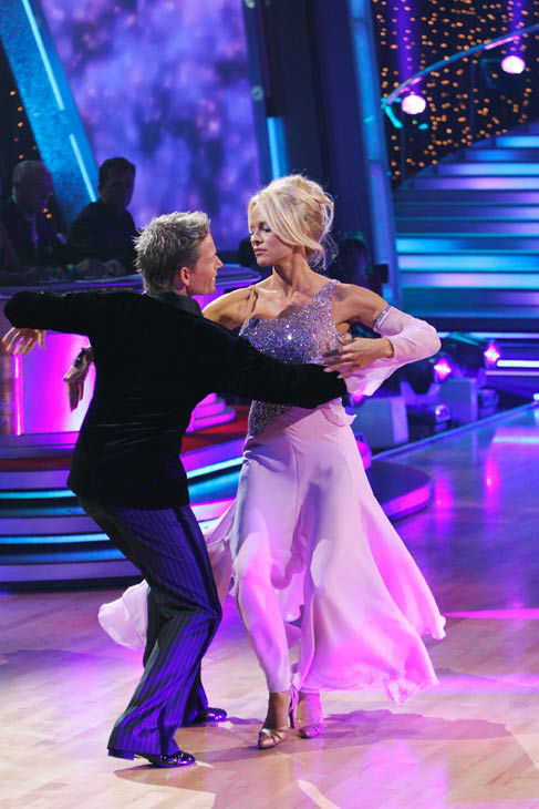 Pamela Anderson and Damian Whitewood appear in a still from the 2010 season 10 of 'Dancing With The Stars.'