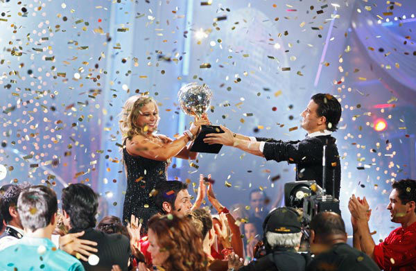 Shawn Johnson and Mark Ballas appear in a still from the 2009 season 8 of 'Dancing With The Stars.'
