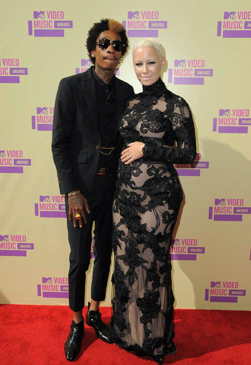 Wiz Khalifa and Amber Rose arrive at the MTV Video Music Awards on Thursday, Sept. 6, 2012, in Los Angeles.