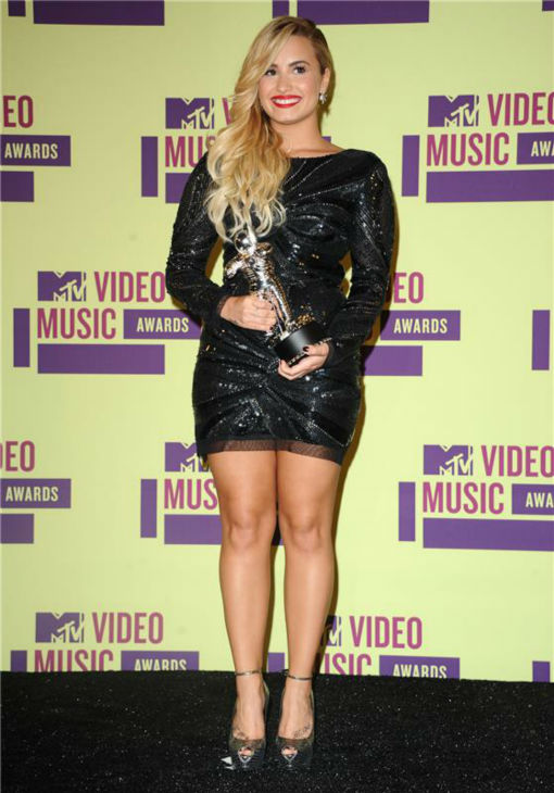 "<div class=""meta ""><span class=""caption-text "">Demi Lovato appears backstage at the 2012 MTV Video Music Awards in Los Angeles on Sept. 6, 2012. (Sara De Boer / startraksphoto.com)</span></div>"