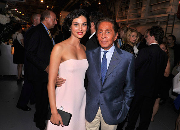 Actress Morena Baccarin and designer Valentino Garavani attend the Showtime and Time Warner Cable hosted premiere screening and reception to launch the second season of 'Homeland' at the Intrepid Sea-Air-Space Museum on September 7, 2012 in New York City.